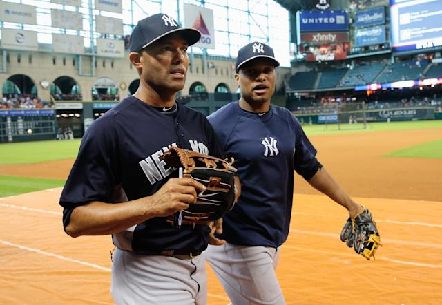 Former New York Yankees teammates Mariano Rivera and Robinson Cano (Photo by Scott Halleran/Getty Images)