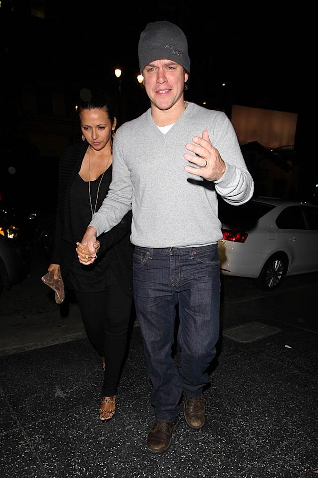 "Matt Damon and his wife Luciana Bazon Barossa were snapped at the same spot on Sunday, conveniently on a double date with his ""The Adjustment Bureau"" co-star Emily Blunt and her hubby John Krasinski. Hellmuth Dominguez/<a href=""http://www.pacificcoastnews.com/"" target=""new"">PacificCoastNews.com</a> - February 20, 2011"