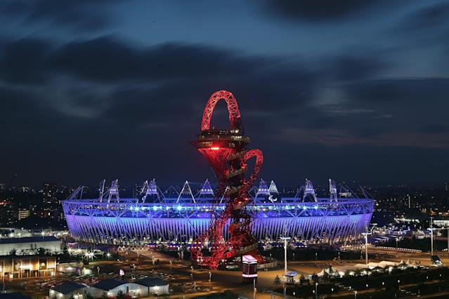 LONDON, ENGLAND - SEPTEMBER 09: Clouds move accross the evening sky above the Olympic Park ahead of the the Closing Ceremony of the London 2012 Paralympic Games at Olympic Stadium on September 9, 2012 in London, England. (Photo by Dan Kitwood/Getty Images)