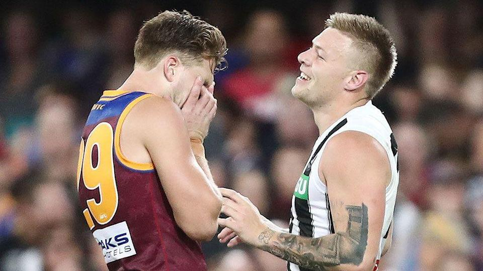 Jordan De Goey and the Pies made Brisbane look even younger than they are. Pic: Getty