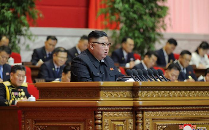 Kim addressed the party on Tuesday in a rare speech - REUTERS