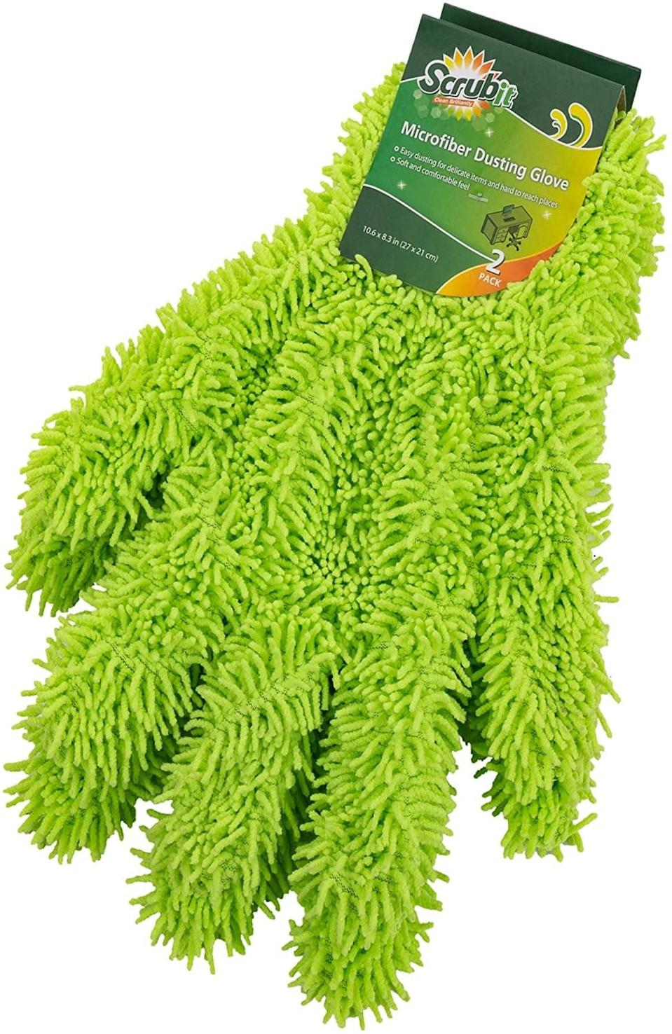 <p>Or instead of cleaning your dust-collecting display items with a towel or brush, slip on a <span>Microfiber Cleaning/Dusting Glove (1 Pair, Washable/Reusable)</span> ($10), and you can admire <em>and</em> clean them at the same exact time.</p>