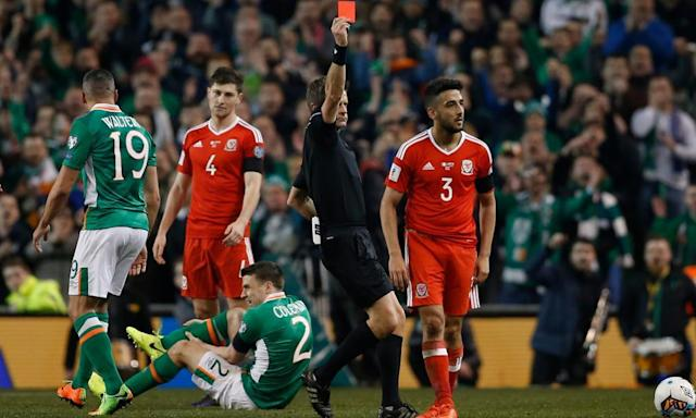 """<span class=""""element-image__caption"""">Memories of Neil Taylor's sending-off for his foul on Séamus Coleman in Dublin will ensure passions run high in Cardiff when the Republic of Ireland face Wales.</span> <span class=""""element-image__credit"""">Photograph: Matthew Childs/Reuters</span>"""