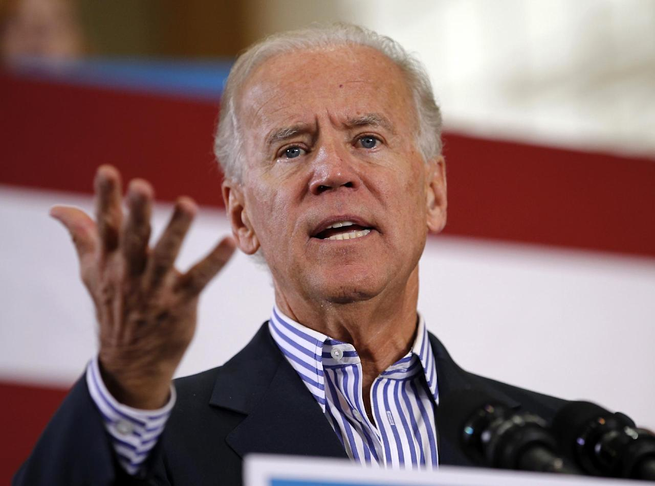 Vice President Joe Biden speaks during a campaign event at the Century Village Clubhouse in Boca Raton, Fla., Friday, Sept. 28, 2012. (AP Photo/Terry Renna)