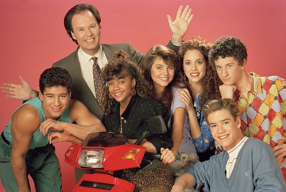 Dustin Diamond appeared in Saved by the Bell, pictured: (l-r) Mario Lopez, Dennis Haskins, Lark Voorhies, Tiffani Thiessen, Elizabeth Berkley, Mark-Paul Gosselaar, Dustin Diamond (Image NBCU Photo Bank/Getty Images) (Getty Images)