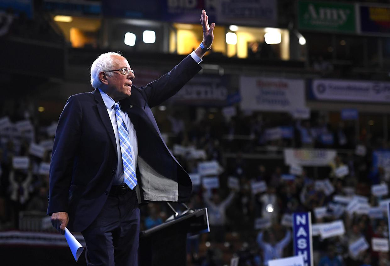 Sen. Bernie Sanders waves at the New Hampshire Democratic Party convention in Manchester earlier this month. (Photo: Gretchen Ertl/Reuters)
