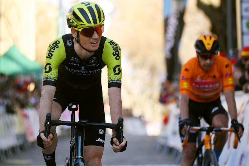BEDA SPAIN FEBRUARY 21 Arrival Jack Haig of Australia and Team MitcheltonScott Mikel Landa of Spain and Team Bahrain McLaren Orange Mountain Jersey during the 66th Vuelta a Andaluca Ruta del Sol 2020 Stage 3 a 1769km stage from Jan to beda 727m VCANDALUCIA UCIProSeries on February 21 2020 in beda Spain Photo by David RamosGetty Images