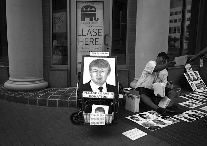 <p>A vendor sells hand-drawn images of Trump and other celebrities in Cleveland. (Photo: Khue Bui for Yahoo News)</p>