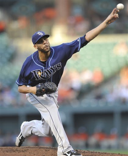Tampa Bay Rays starting pitcher David Price delivers to a Baltimore Orioles batter in the first inning of a baseball game Wednesday, July 25, 2012, in Baltimore. (AP Photo/Gail Burton)