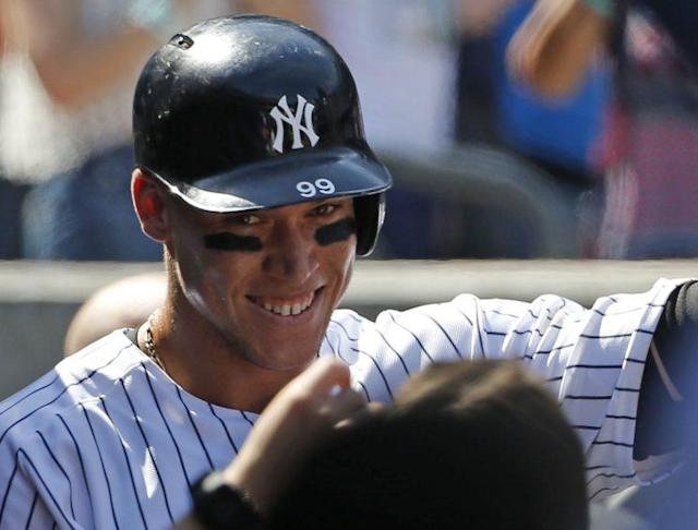 Aaron Judge has plenty of reasons to smile this year. (AP Photo)