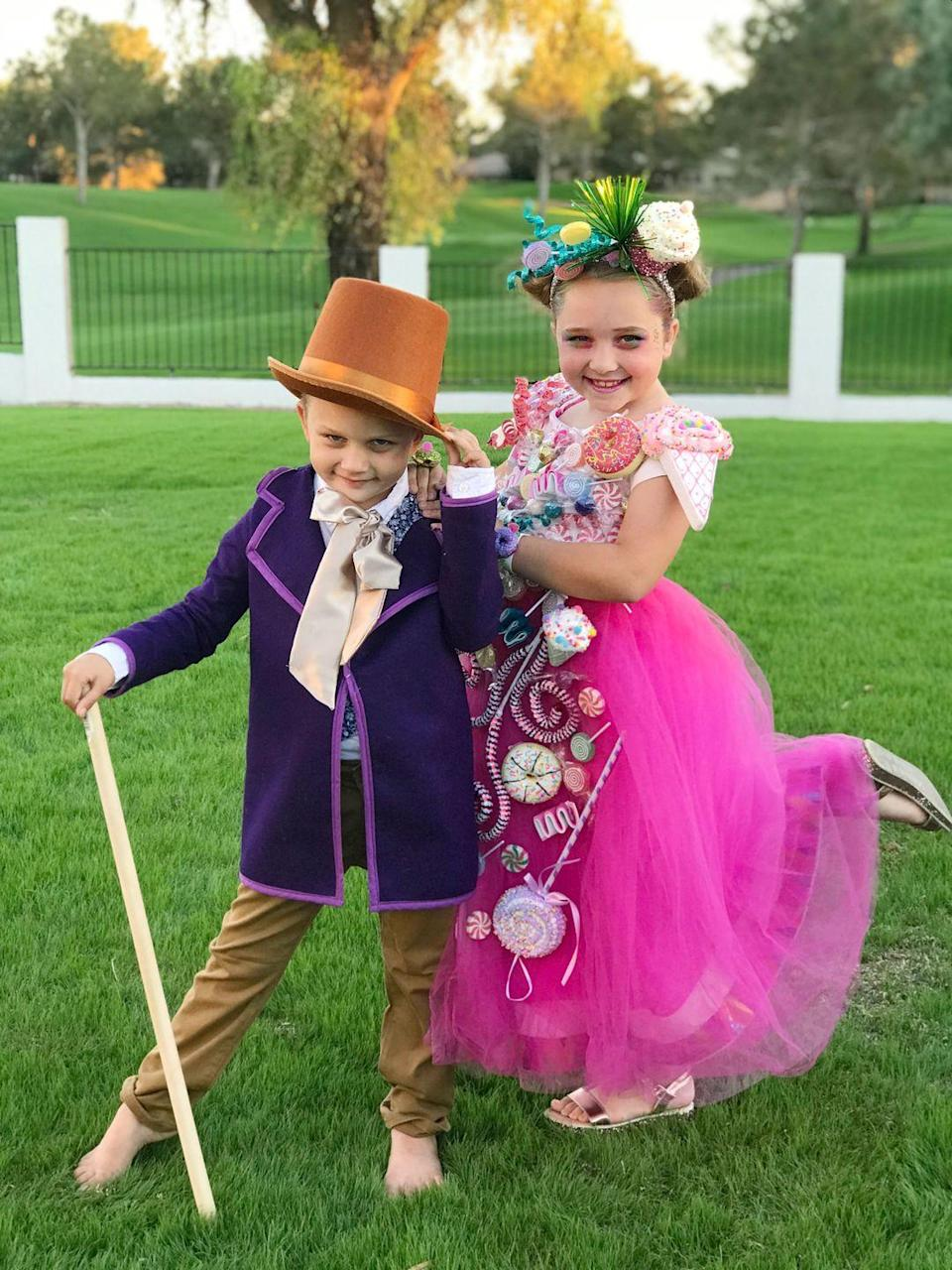 """<p>Willy Wonka meets Candy Land in this sweet siblings costume, which is perfect if you want a general candy-themed costume for your children.</p><p><strong>See more at <a href=""""https://www.instagram.com/p/Bpnp6mplxC2/"""" rel=""""nofollow noopener"""" target=""""_blank"""" data-ylk=""""slk:@ohsojo_"""" class=""""link rapid-noclick-resp"""">@ohsojo_</a>.</strong></p><p><a class=""""link rapid-noclick-resp"""" href=""""https://www.amazon.com/Tigerdoe-Costume-Hats-Accessory-Brown/dp/B072FP9X1R/ref=sr_1_5?tag=syn-yahoo-20&ascsubtag=%5Bartid%7C10050.g.28698768%5Bsrc%7Cyahoo-us"""" rel=""""nofollow noopener"""" target=""""_blank"""" data-ylk=""""slk:SHOP BROWN TOP HATS"""">SHOP BROWN TOP HATS</a> </p>"""