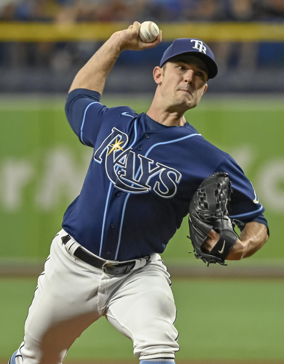 Tampa Bay Rays starter David Robertson pitches against the Miami Marlins during the first inning of a baseball game Friday, Sept. 24, 2021, in St. Petersburg, Fla. (AP Photo/Steve Nesius)