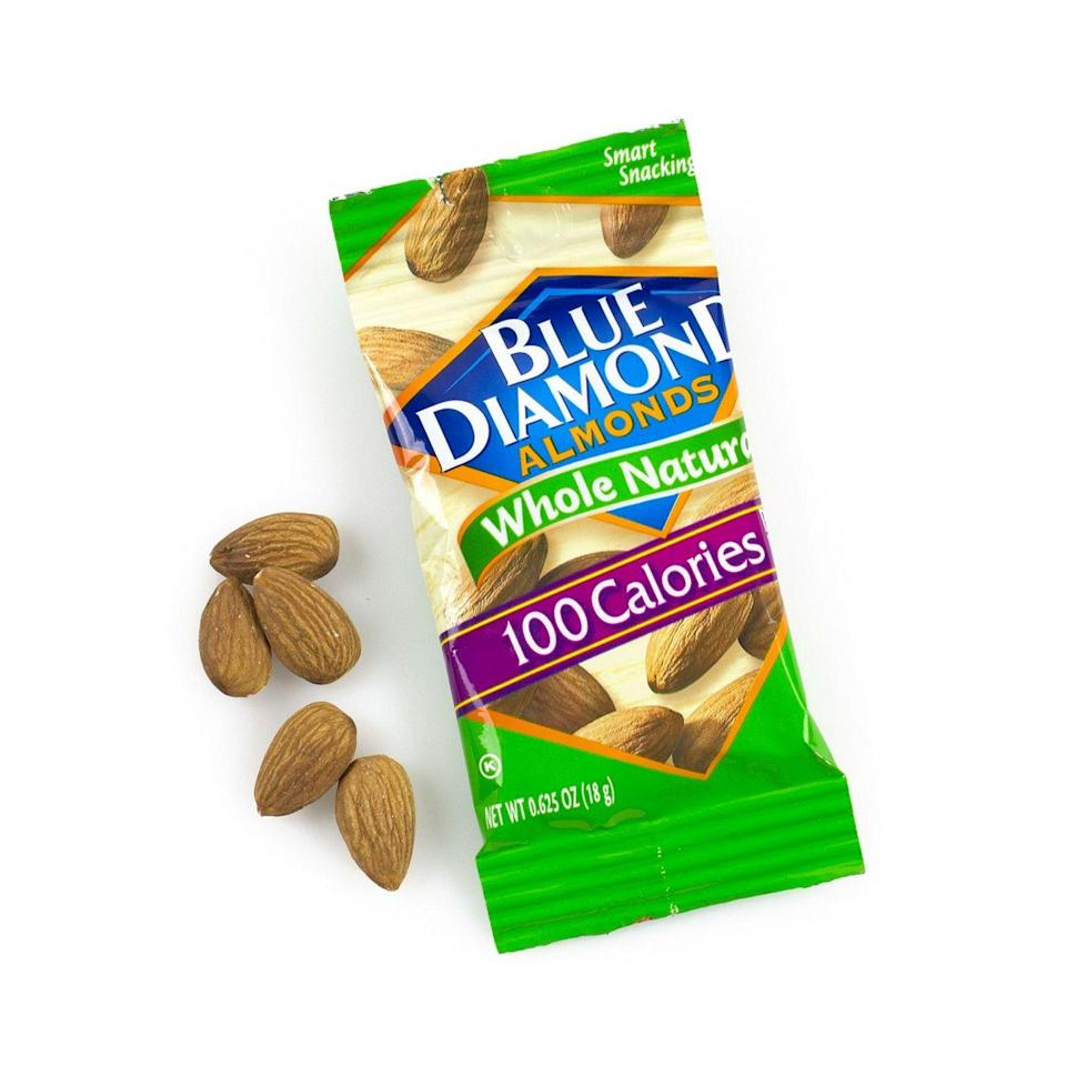 """<p><a class=""""link rapid-noclick-resp"""" href=""""https://www.target.com/p/blue-diamond-whole-natural-almonds-20oz-32ct/-/A-51383438"""" rel=""""nofollow noopener"""" target=""""_blank"""" data-ylk=""""slk:BUY NOW"""">BUY NOW</a> <strong><em>$25 for 32-pack, target.com</em></strong></p><p>It's hard to find these prepackaged nuts anywhere but Target — which is why people flock to them there.</p>"""