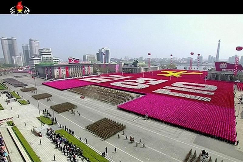 Threat: North Korea warned it was ready for war during a parade of its military: REUTERS
