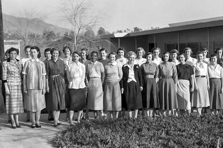 """Women working with the NASA Jet Propulsion Laboratory, known at the time as """"computers"""", including Janez Lawson (front row, 5L), the first African American hired into a technical position at JPL, pose for a photo (AFP Photo/HO)"""