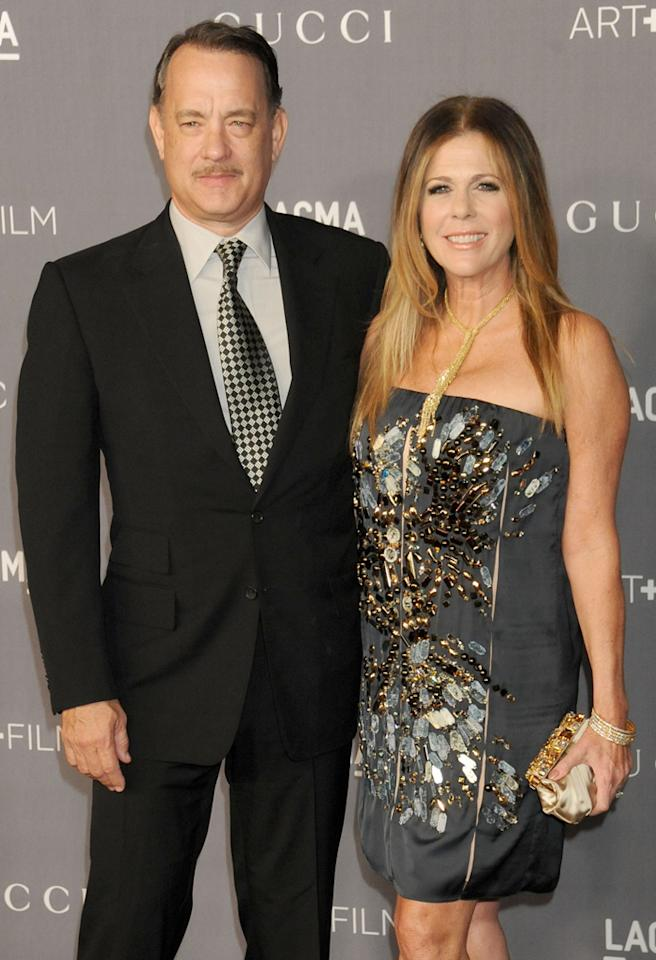 LOS ANGELES, CA - OCTOBER 27:  Actor Tom Hanks and wife Rita Wilson arrive at LACMA Art   Gala at LACMA on October 27, 2012 in Los Angeles, California.  (Photo by Gregg DeGuire/WireImage)