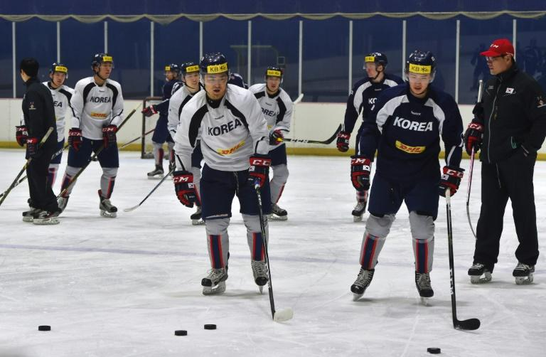 South Korea's ice hockey team coach Jim Paek (R) conducts a team training session at a rink in Goyang, north-west of Seoul