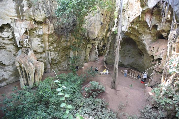 <p>General view of cave site of Panga ya Saidi where burial was unearthed</p> (Mohammad Javad Shoaee)