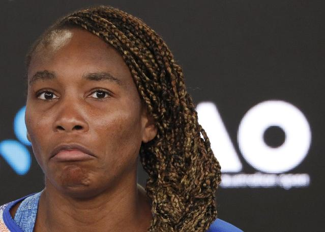 Tennis - Australian Open - Melbourne, Australia, January 15, 2018. Venus Williams of the U.S. reacts during a news conference after losing her match. REUTERS/Edgar Su