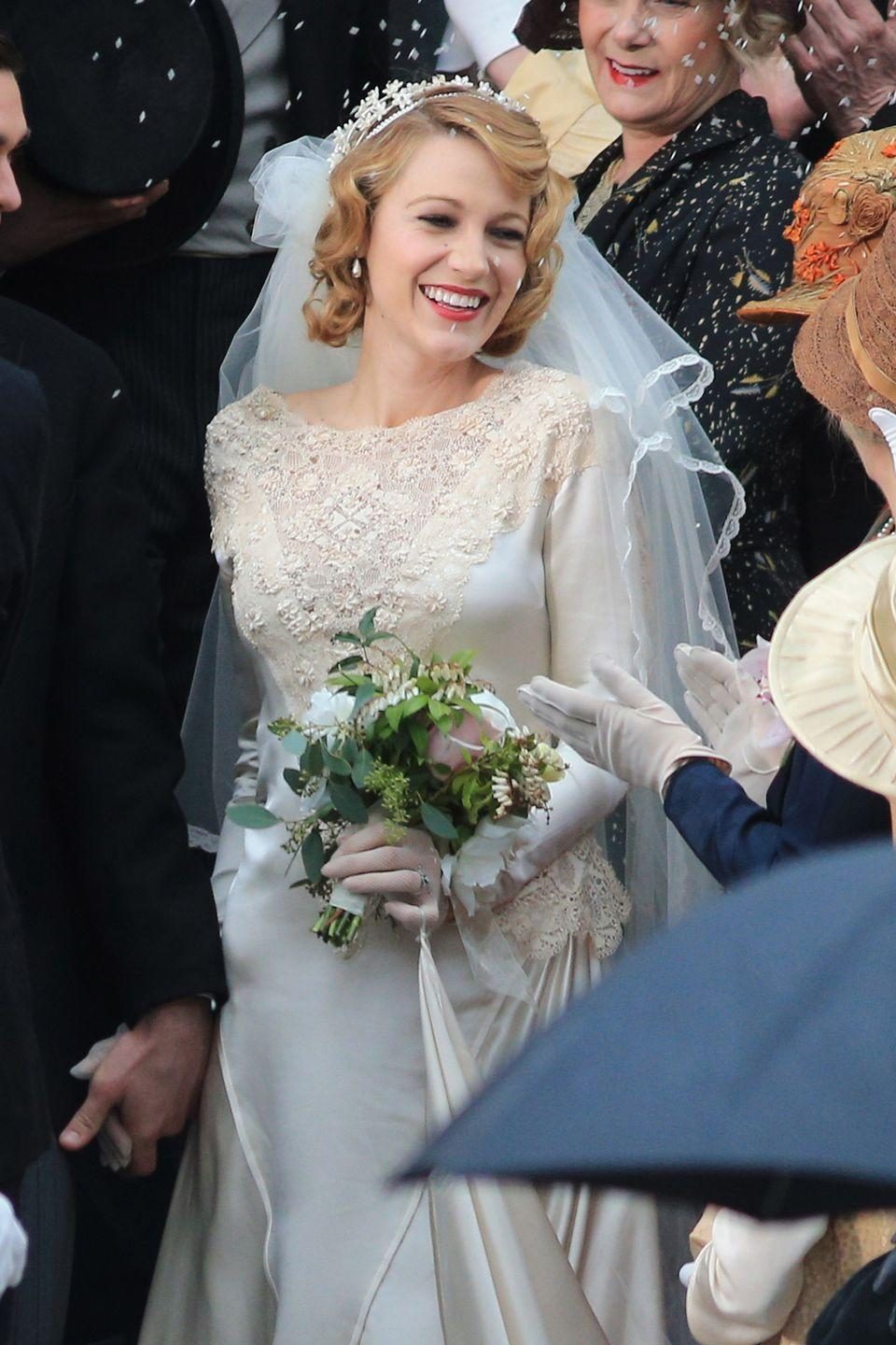<p>Adaline Bowman (Blake Lively) may be ageless, but before her accident, she got married in this period-style wedding dress. Between the lace on the front and the satin sleeves and skirt, we feel confident that this gown would work in any time period.<br></p>
