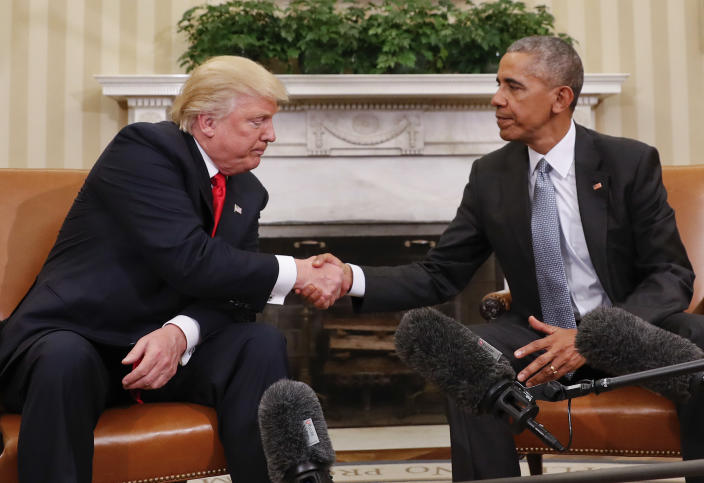 President Barack Obama and President-elect Donald Trump shake hands following their meeting in the Oval Office of the White House in Washington, Thursday, Nov. 10, 2016. (Pablo Martinez Monsivais/AP)