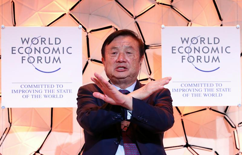Ren Zhengfei, Founder and Chief Executive Officer of Huawei Technologies gestures during a session at the 50th World Economic Forum (WEF) annual meeting in Davos, Switzerland, January 21, 2020. REUTERS/Denis Balibouse