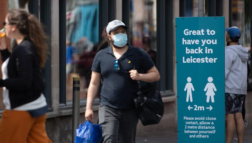 Social distancing advice on sign in Leicester, as the city�s spike in coronavirus cases has sparked a report that it may be the first UK location to be subjected to a district lockdown.
