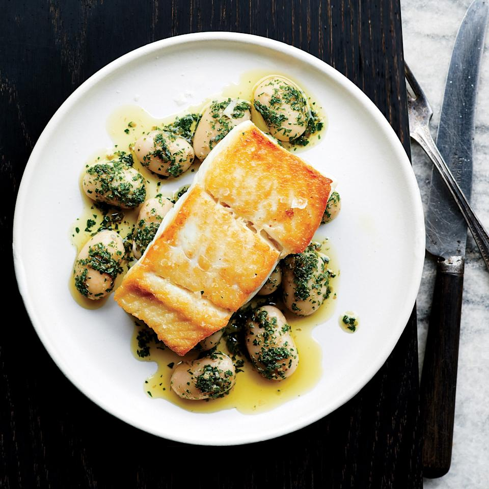 """A brief brine in salt water makes this halibut extra flavorful. And it's well seasoned all the way through. Now the only question is: Are <a href=""""https://www.epicurious.com/ingredients/how-and-why-to-cook-with-big-bigger-beans-article?mbid=synd_yahoo_rss"""">your beans big enough</a>? <a href=""""https://www.epicurious.com/recipes/food/views/pan-roasted-halibut-with-herbed-corona-beans-51263770?mbid=synd_yahoo_rss"""">See recipe.</a>"""