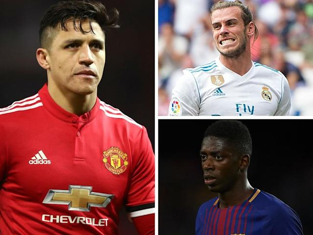 (Clockwise from left-right) Alexis Sanchez, Gareth Bale and Ousmane Dembele