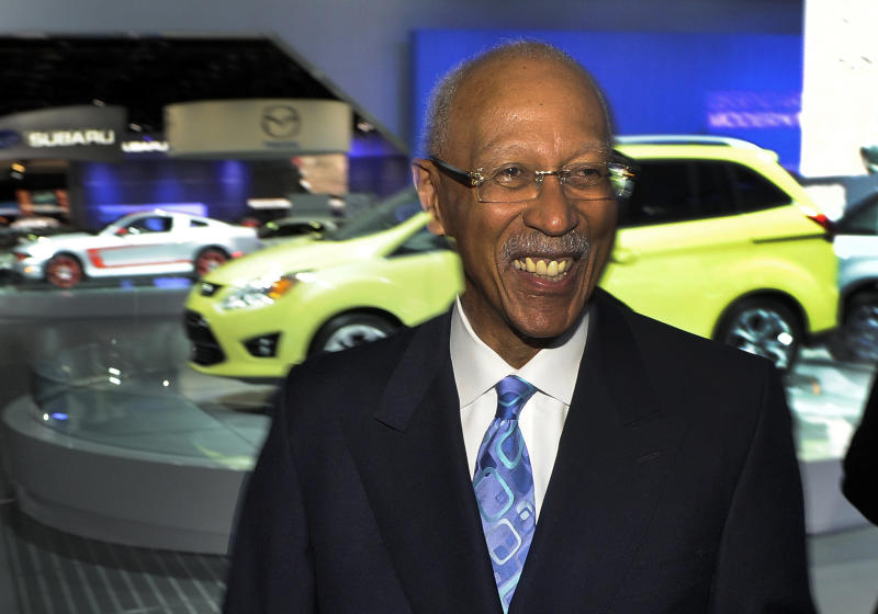 FILE - In this Jan. 12, 2011 file photo Detroit Mayor Dave Bing tours the North American International Auto Show at Cobo Center in Detroit. The former NBA great, who transitioned smoothly to owner and founder of a steel supply company, became Mayor of Detroit in 2009. In basketball and business, he never side-stepped a challenge, but the overwhelming weight of Detroit's financial problems and other troubles have convinced Bing to pass control of the city over to the state. (AP Photo/The Detroit News, Daniel Mears, File)