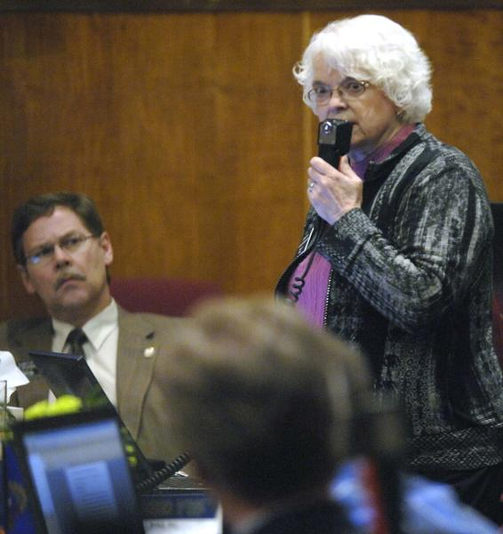 North Dakota state Sen. Carolyn Nelson, D-Fargo, speaks out against HB1305 during the chamber floor debate at the state Capitol, Friday, March 15, 2013 in Bismarck, N.D. The North Dakota Senate overwhelmingly approved two anti-abortion bills Friday, one banning abortions as early as six weeks into a pregnancy and another prohibiting the procedure because of genetic defects such as Down syndrome. If the governor signs the measures, North Dakota would be the only state in the U.S. with those laws (AP Photo/The Bismarck Tribune, Mike McCleary)