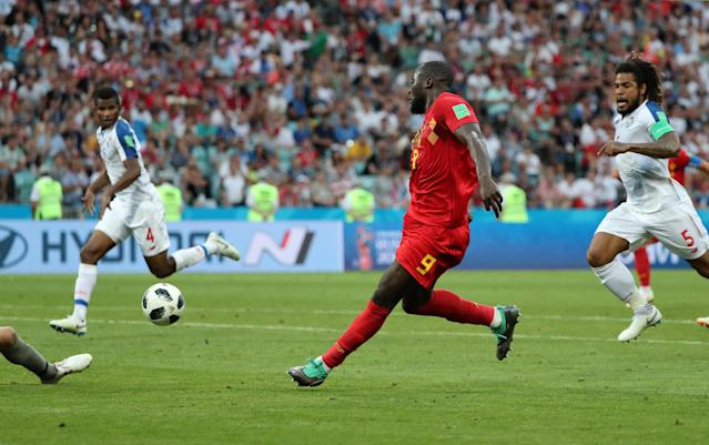 Soccer Football - World Cup - Group G - Belgium vs Panama - Fisht Stadium, Sochi, Russia - June 18, 2018 Belgium's Romelu Lukaku scores their third goal REUTERS/Marcos Brindicci