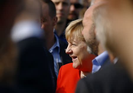 German Chancellor Merkel attends election rally ahead of the upcoming federal election in Sankt Peter-Ording