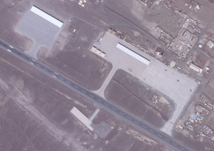 A Jan. 7, 2021, satellite photo from Planet Labs Inc. shows canopies to cover aircraft at an Emirati military base in Assab, Eritrea. The United Arab Emirates is dismantling parts of a military base it runs in the East African nation of Eritrea after it pulled back from the grinding war in nearby Yemen, satellite photos analyzed by The Associated Press show. (Planet Labs Inc. via AP)