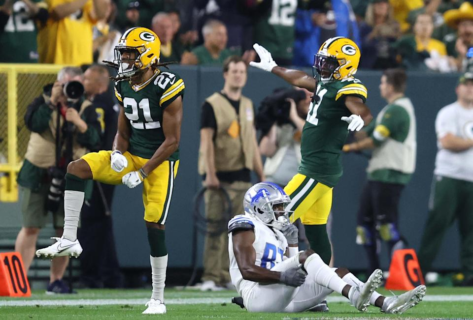 Green Bay Packers cornerback Eric Stokes (21) and safety Henry Black (41) celebrate a stop after an incomplete pass by Detroit Lions tight end Darren Fells (80) during fourth quarter of the Green Bay Packers game against the Detroit Lions at Lambeau Field in Green Bay on Monday, Sept. 20, 2021.  -  Photo by Mike De Sisti / Milwaukee Journal Sentinel via USA TODAY NETWORK