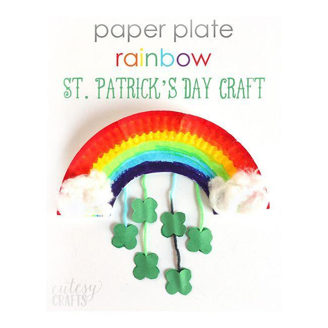 """<p>You don't have to limit your St. Patrick's Day crafts to the color green. A leprechaun's pot of gold can be found at the end of the rainbow, after all. </p><p><em>Get the tutorial at <a href=""""https://cutesycrafts.com/2016/02/paper-plate-rainbow-st-patricks-day-craft.html"""" rel=""""nofollow noopener"""" target=""""_blank"""" data-ylk=""""slk:Cutesy Crafts"""" class=""""link rapid-noclick-resp"""">Cutesy Crafts</a>.</em></p>"""