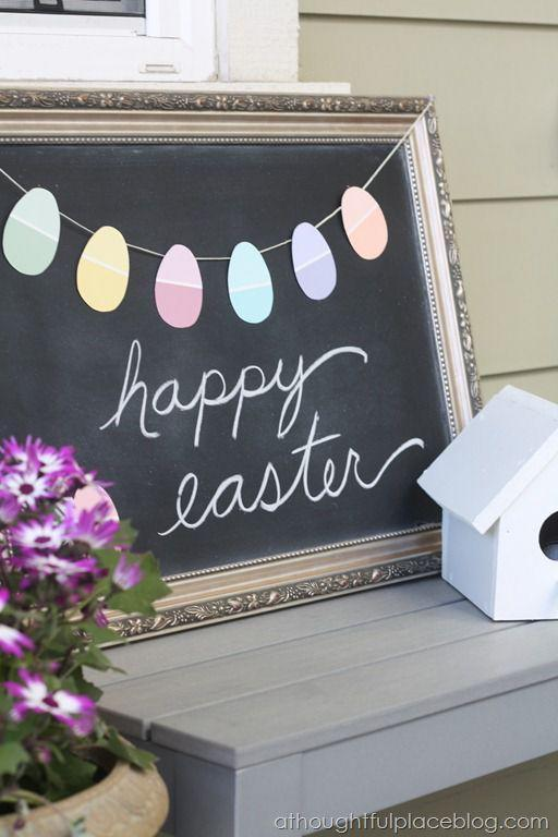 "<p>Repurpose leftover paint chips as colorful Easter eggs. When strung across a chalkboard sign saying ""Happy Easter"" and placed on the porch, this easy homemade decoration provides a warm welcome.</p><p><strong>Get the tutorial at <a href=""http://www.athoughtfulplaceblog.com/diy-easter-garland-using-paint-chips/"" rel=""nofollow noopener"" target=""_blank"" data-ylk=""slk:A Thoughtful Place Blog"" class=""link rapid-noclick-resp"">A Thoughtful Place Blog</a>.</strong></p>"