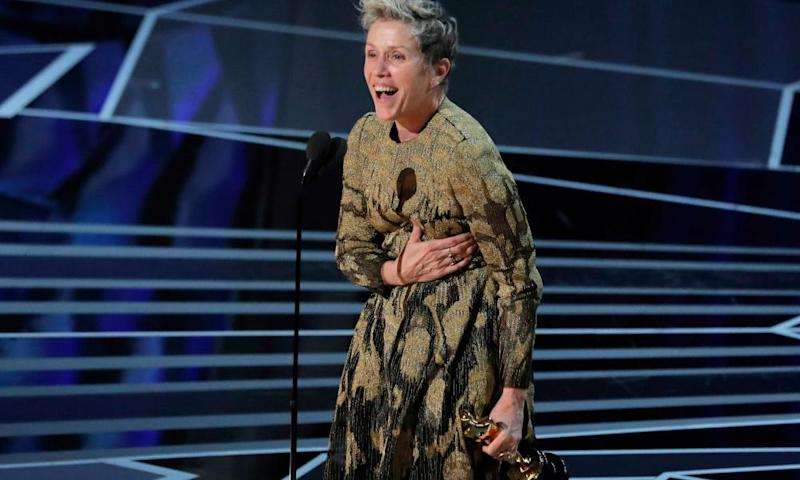 Frances McDormand winning best actress at the Oscars