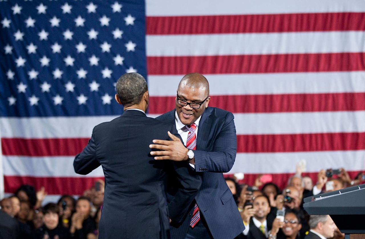 <p>Perry hugs Obama during a 2012 campaign event at Tyler Perry Studios in Atlanta, Georgia. </p>