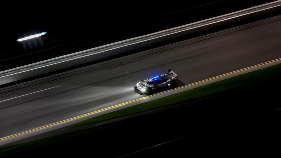 <em>The No. 77 Mazda DPi of Oliver Jarvis and Tristan Nunez finished second in the IMSA WeatherTech 240, which ended in darkness after a weather delay at Daytona International Speedway (Brian Cleary/Getty Images).</em>