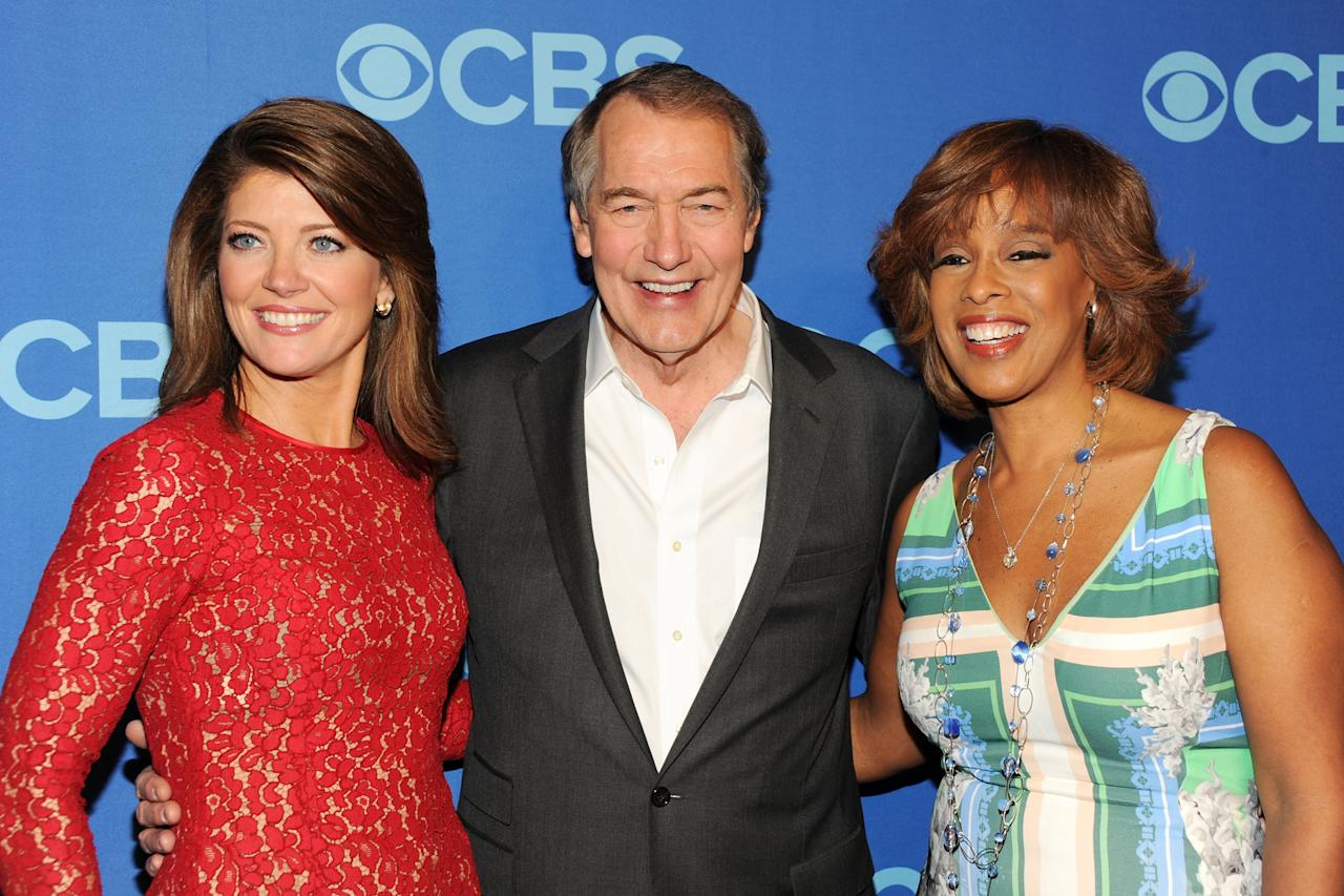NEW YORK, NY - MAY 15:  (L-R) Journalists Norah O'Donnell, Charlie Rose and Gayle King attend CBS 2013 Upfront Presentation at The Tent at Lincoln Center on May 15, 2013 in New York City.  (Photo by Ben Gabbe/Getty Images)