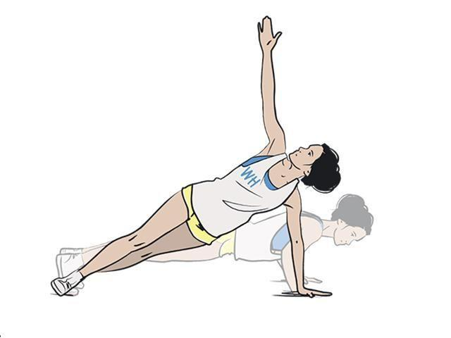 <p><strong>1/</strong> Start in the tricep push-up position (elbows tracking in and close to the body) and lower down twice.</p><p><strong>2/ </strong>Shift your weight to your left arm, twist to the side and bring your right hand up towards the ceiling. </p>