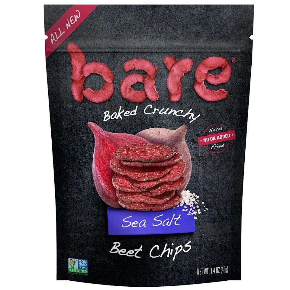 "<p>Crunchy, salty <a href=""https://www.popsugar.com/buy/Bare-Beet-Chips-483227?p_name=Bare%20Beet%20Chips&retailer=amazon.com&pid=483227&price=34&evar1=fit%3Aus&evar9=46528268&evar98=https%3A%2F%2Fwww.popsugar.com%2Ffitness%2Fphoto-gallery%2F46528268%2Fimage%2F46528283%2FBare-Beet-Chips&prop13=mobile&pdata=1"" class=""link rapid-noclick-resp"" rel=""nofollow noopener"" target=""_blank"" data-ylk=""slk:Bare Beet Chips"">Bare Beet Chips</a> ($34 for an eight-pack) have just two ingredients: sea salt and beets. ""They're an excellent source of fiber with eight grams per serving, which is an important factor for satiety,"" Edwina said. She recommended combining them with a couple spoonfuls of hummus to keep you full between meals.</p>"
