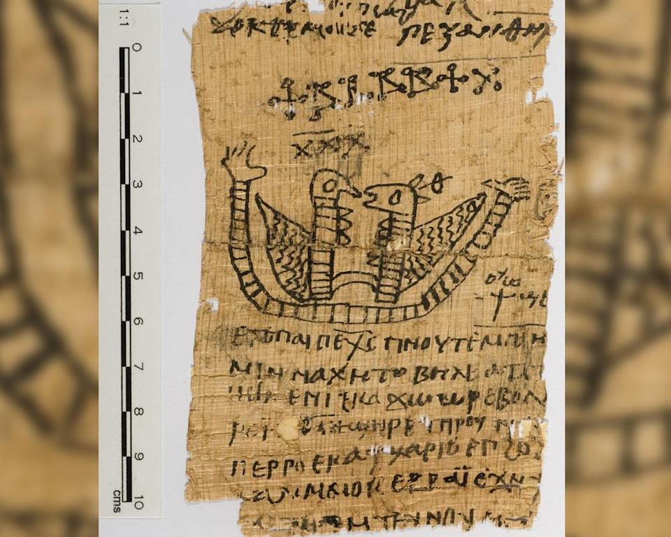 This ancient Egyptian papyrus, now at Macquarie University, is decorated with an image of two bird-like creatures. A magical spell written in Coptic, an Egyptian language that uses the Greek alphabet, is visible around the image.