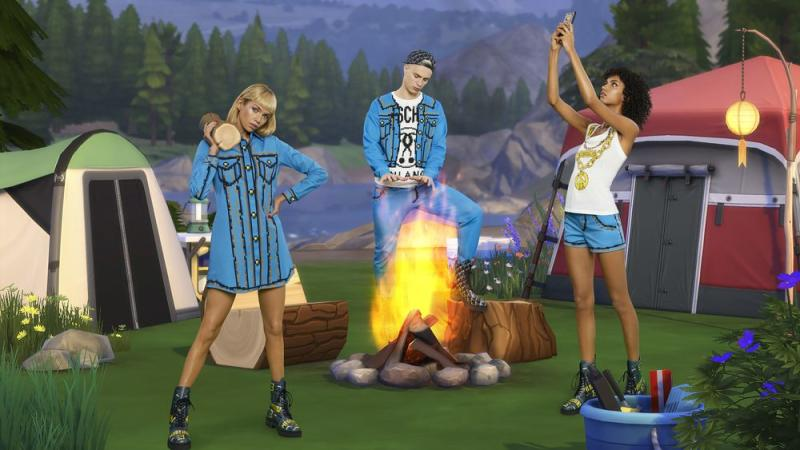 Models wearing Moschino's Sims-inspired clothing. | Moschino