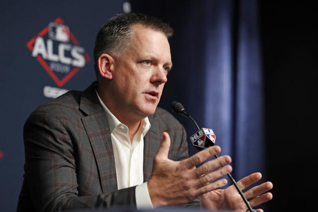 Houston Astros manager A.J. Hinch answers reporters' questions, Monday, Oct. 14, 2019, during a news conference at Yankee Stadium in New York on an off day in the American League Championship Series between the Astros and the New York Yankees. (AP Photo/Kathy Willens)