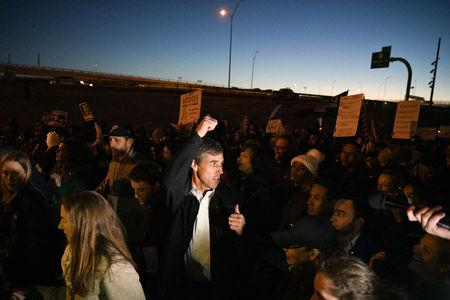 Beto O'Rourke, the Democratic former Texas congressman, participates in an anti-Trump march in El Paso, Texas, U.S., February 11, 2019.  REUTERS/Loren Elliott