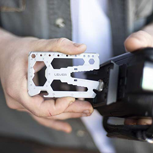 """<p><strong>Lever Gear</strong></p><p>amazon.com</p><p><strong>$25.95</strong></p><p><a href=""""https://www.amazon.com/dp/B01N80KZW9?tag=syn-yahoo-20&ascsubtag=%5Bartid%7C10055.g.32958220%5Bsrc%7Cyahoo-us"""" rel=""""nofollow noopener"""" target=""""_blank"""" data-ylk=""""slk:SHOP NOW"""" class=""""link rapid-noclick-resp"""">SHOP NOW</a></p><p>Who would ever guess something so small could be so useful in so many different scenarios? This <strong>40-in-1 tool is as small as credit card </strong>and functions as a wrench, a pry-bar, a cord cutter, a bottle opener, and more, so you'll be prepared for whatever the wilderness throws your way. </p>"""