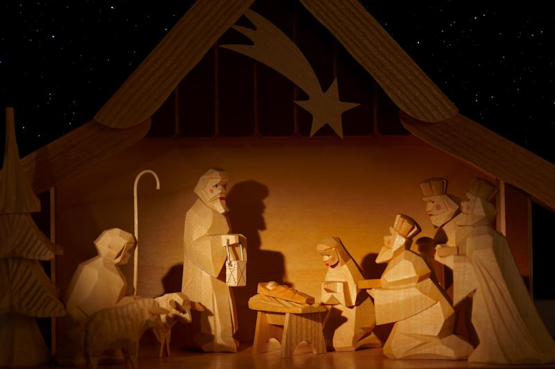nativity scene, made from wood