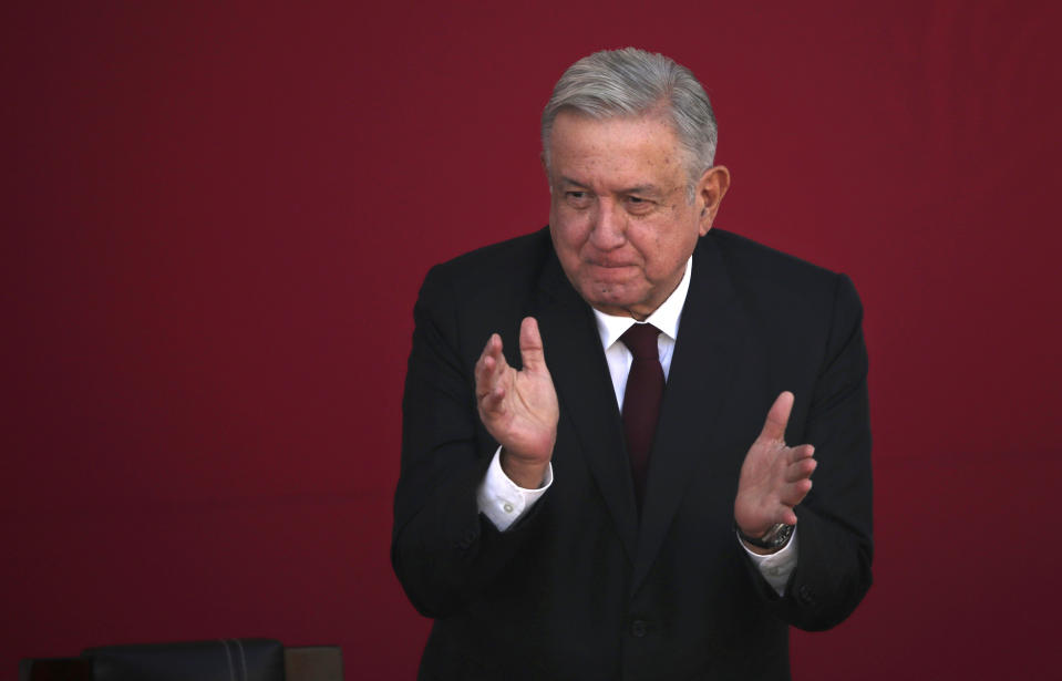 Mexican President Andres Manuel Lopez Obrador applauds during a ceremony marking the 108th anniversary of the Marcha de la Lealtad or March of Loyalty, at Chapultepec Castle in Mexico City, Tuesday, Feb. 9, 2021. The ceremony commemorates the day in 1913 when hundreds of military cadets accompanied democratically elected president Francisco I. Maduro from Chapultepec Castle to the National Palace at the start of a coup known as the